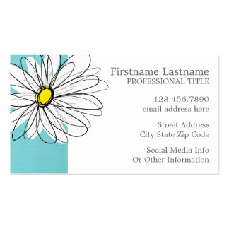 Aqua and Yellow Whimsical Daisy Custom Text Double-Sided Standard Business Cards (Pack Of 100)