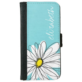 Aqua and Yellow Whimsical Daisy Custom Text iPhone 6 Wallet Case