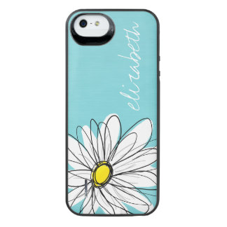 Aqua and Yellow Whimsical Daisy Custom Text iPhone SE/5/5s Battery Case