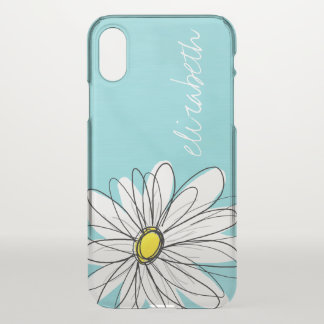Aqua and Yellow Whimsical Daisy Custom Text iPhone X Case