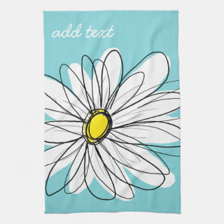 Aqua and Yellow Whimsical Daisy Custom Text Kitchen Towels