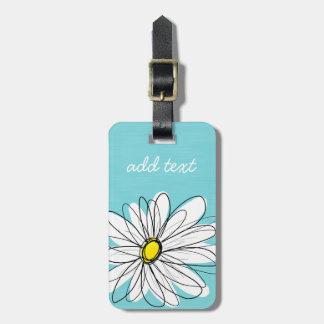 Aqua and Yellow Whimsical Daisy Custom Text Luggage Tag