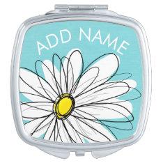 Aqua And Yellow Whimsical Daisy Custom Text Makeup Mirror at Zazzle