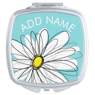 Aqua and Yellow Whimsical Daisy Custom Text Makeup Mirror