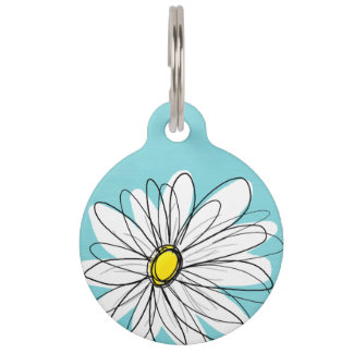 Aqua and Yellow Whimsical Daisy Custom Text Pet ID Tag