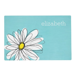 Aqua and Yellow Whimsical Daisy Custom Text Placemat