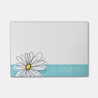 Aqua and Yellow Whimsical Daisy Custom Text Post-it® Notes