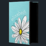 "Aqua and Yellow Whimsical Daisy Custom Text Powis iPad Air 2 Case<br><div class=""desc"">A zen and whimsical,  hipster piece of art. You can add a name,  monogram or other custom text. If you need to move the art around,  click on the customize button to make changes.</div>"
