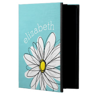 Aqua and Yellow Whimsical Daisy Custom Text Powis iPad Air 2 Case