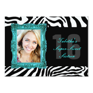 Aqua and Zebra | Sweet Sixteen Invitation