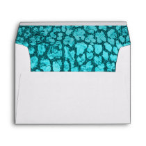 Aqua Animal Print Gold Envelope