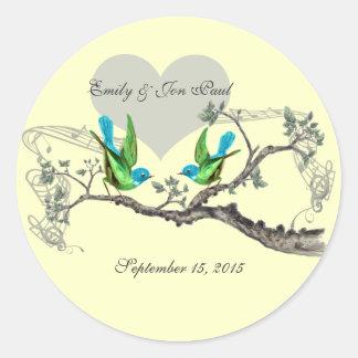 Aqua & Apple Green Vintage Birds Wedding Stickers