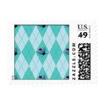 Aqua Argyle Ladybug Postage Stamps