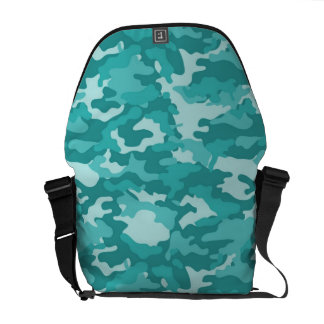 Aqua Army Military Camo Camouflage Pattern Texture Messenger Bags