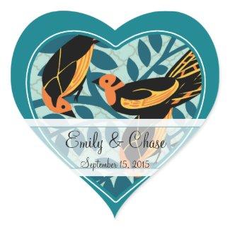 Aqua Art Deco Love Birds Sitting in a Tree Wedding sticker