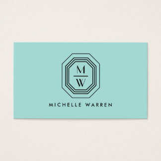 Aqua Art Deco Professional Monogram Business Card