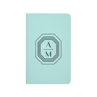 Aqua Art Deco Professional Monogram Personalized Journal