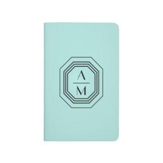 Aqua Art Deco Professional Monogram Personalized Journal