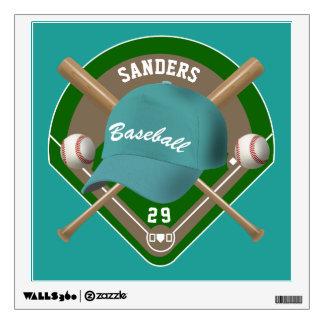 Aqua Baseball Diamond Player Name and Number Wall Decal