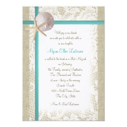 Aqua Beach Burlap and Lace Bat Mitzvah Card