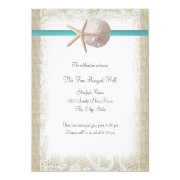 Beach Themed Aqua Beach Burlap and Lace Reception Card