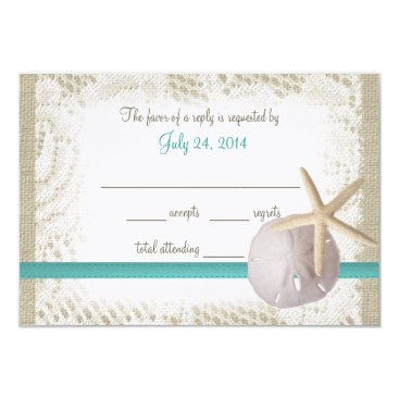 Beach Themed Aqua Beach Burlap and Lace Reply Card