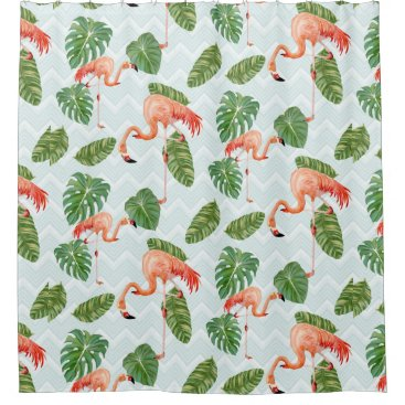 Beach Themed Aqua Beach Decor Watercolor Flamingo Tropical Leaf Shower Curtain
