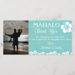 """Aqua Beach Flowers Thank You Photo Card<br><div class=""""desc"""">Upload your wedding or honeymoon photos to create a personal thank you card for guests. This design has an aqua blue watermark tropical floral background. A white hibiscus and small beach flowers embellish the card. To resize or reposition your photo, click on the Customize It button. Please message me if...</div>"""