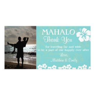 Aqua Beach Flowers Thank You Photo Card