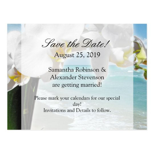 Aqua Beach Orchid Save the Date Postcard