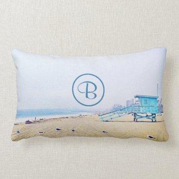 Beach Themed Aqua beach photo custom monogram lumbar pillow