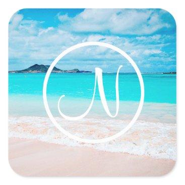 Beach Themed Aqua beach photo custom monogram square sticker