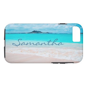 "Beach Themed Aqua beach photo ""your name here"" cell phone case"