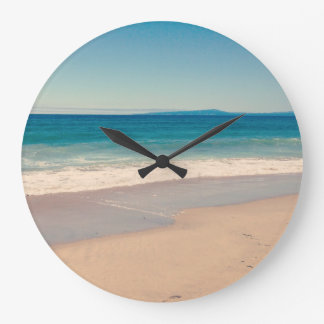 Aqua Beach Scene Large Clock