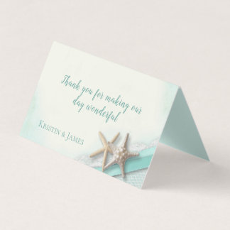 Aqua Beach Starfish Lace and Ribbon Place Card