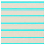 [ Thumbnail: Aqua & Beige Colored Lined/Striped Pattern Fabric ]