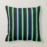 [ Thumbnail: Aqua, Beige, Lime Green, Midnight Blue & Black Throw Pillow ]