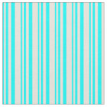 [ Thumbnail: Aqua & Beige Pattern of Stripes Fabric ]