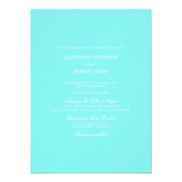 Beach Themed Aqua Belle Aqua Blue and White Text Wedding Card
