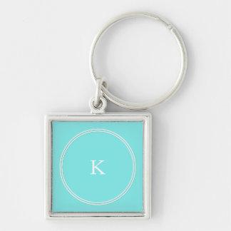 Aqua Belle Aqua Blue and White Text Wedding Keychain