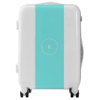 Aqua Belle Aqua Blue and White Text Wedding Luggage