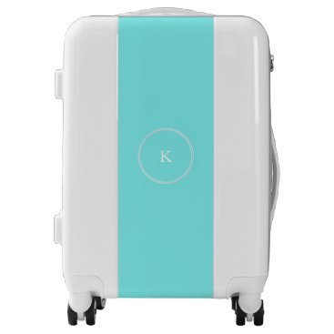 USA Themed Aqua Belle Aqua Blue and White Text Wedding Luggage
