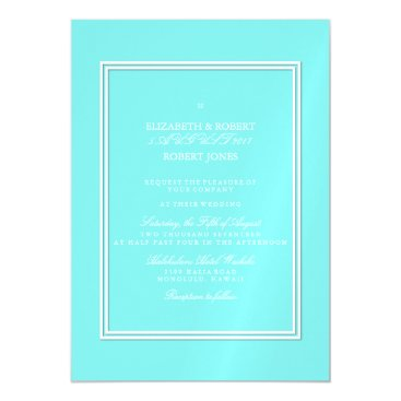 Beach Themed Aqua Belle Aqua Blue and White Text Wedding Magnetic Card