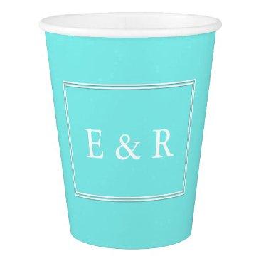Beach Themed Aqua Belle Aqua Blue and White Text Wedding Paper Cup