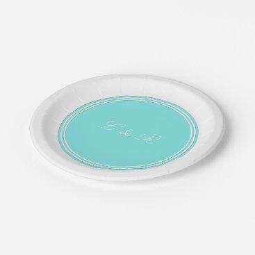 Beach Themed Aqua Belle Aqua Blue and White Text Wedding Paper Plate
