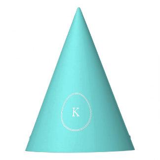 Aqua Belle Aqua Blue and White Text Wedding Party Hat