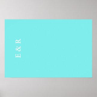 Aqua Belle Aqua Blue and White Text Wedding Poster