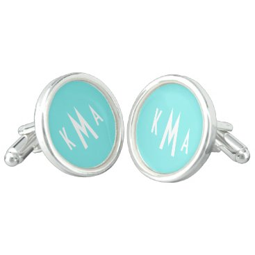 Beach Themed Aqua Belle Aqua Blue Uptown Girl Custom Text Cufflinks
