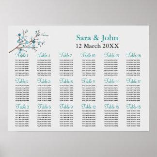 aqua berries winter wedding Seating Chart
