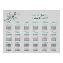 aqua berries winter wedding Seating Chart Poster